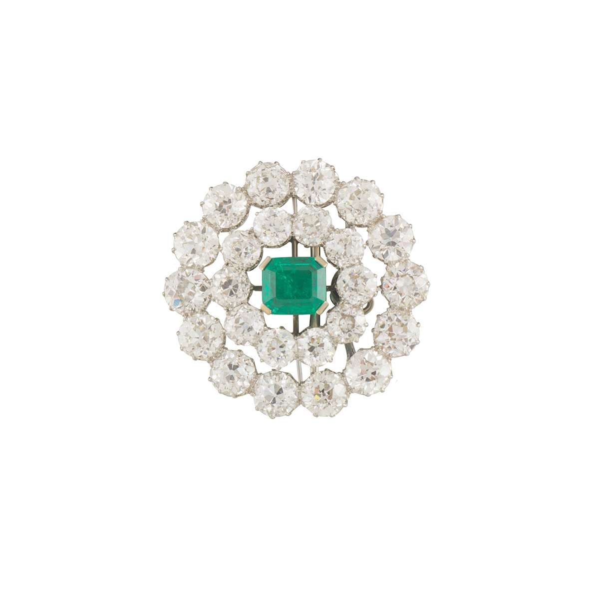 Early 20th Century Emerald and Diamond Brooch